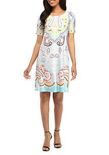 fa705442297 ... New Directions® Short Sleeve Printed ITY Swing Dress