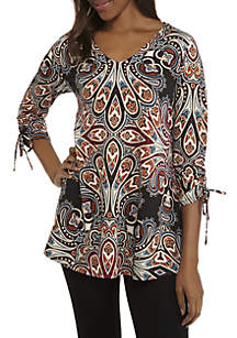 V-Neck Ruched Sleeve Swing Top