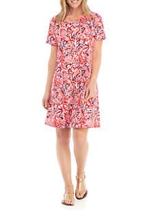 26304c0c98c ... New Directions® Short Sleeve Printed Swing Dress