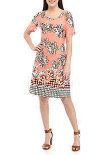 New Directions® Short Sleeve Printed ITY Swing Dress