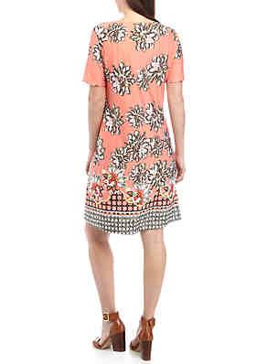 2ebdbd3e9f21 ... New Directions® Short Sleeve Printed Swing Dress