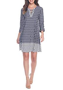 Three-Quarter Grommet Lace Up Dress