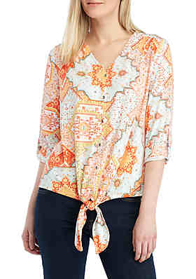 9515b449aa4c New Directions® 3 4 Sleeve Printed Tie Front Top ...