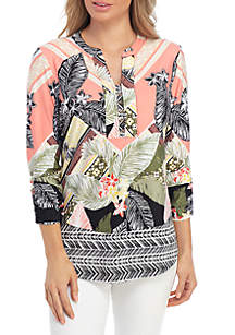 New Directions® 3/4 Sleeve Printed Tunic