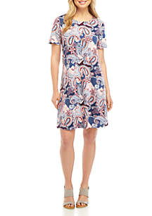 New Directions® Short Sleeve Printed Swing Dress