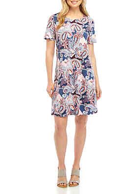 37da7e4b8f99 New Directions® Short Sleeve Printed Swing Dress ...