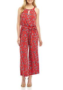 New Directions® Floral Halter Jumpsuit