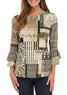 3/4 Double Bell Sleeve Patchwork Print Tunic