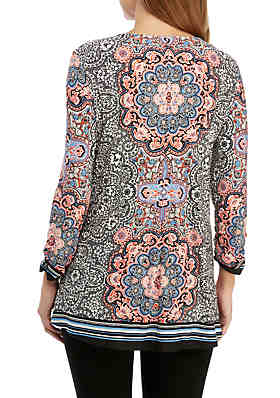... New Directions® 3 4 Ruched Sleeve Grommet Swing Medallion Print Top 12bf2089b3cd