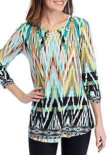 New Directions® 3/4 Ruched Sleeve Multi Color Chevron Swing Top