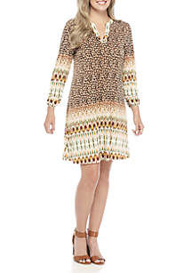 Three-Quarter Sleeve Neutral Swing Dress