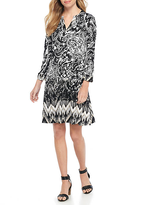 New Directions® Three-Quarter Sleeve Animal Ombre Dress