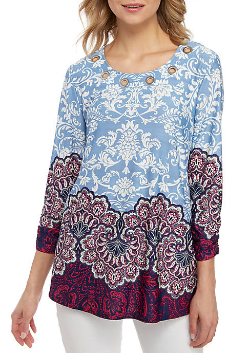 New Directions® 3/4 Cinched Sleeve Medallion Swing Top