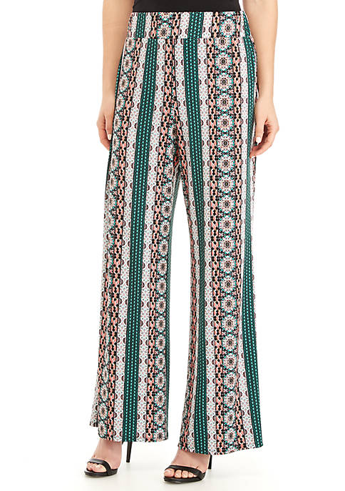 Full Length Striped Medallion Palazzo Pants