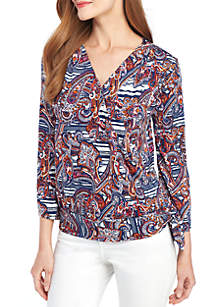 New Directions® 3/4 Sleeve Printed Surplice Top