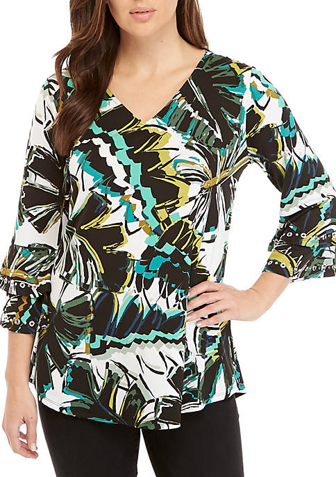 New Directions® 3/4 Double Bell Sleeve Palm Print