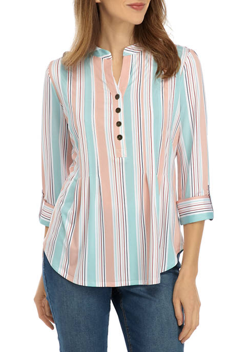 New Directions® Womens 3/4 Sleeve Large Multi Stripe