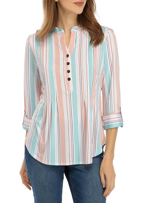 Womens 3/4 Sleeve Large Multi Stripe Henley Top