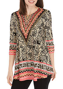 314628b3bc6 ... New Directions® Printed Jeweled Neck Tunic