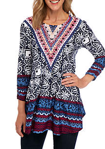 New Directions® Printed Jeweled Neck Tunic