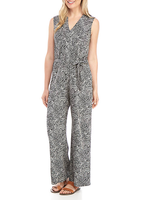 New Directions® Womens Sleeveless Jumpsuit with Pockets