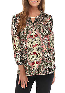 3/4 Cinched Sleeve Hardware Neckline Tunic