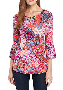 58f9b04395baa ... New Directions® Printed Top with 3 Grommet Neckline