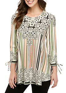 e7349664685d56 ... New Directions® 3 4 Sleeve Printed Swing Top with Embellished Neckline