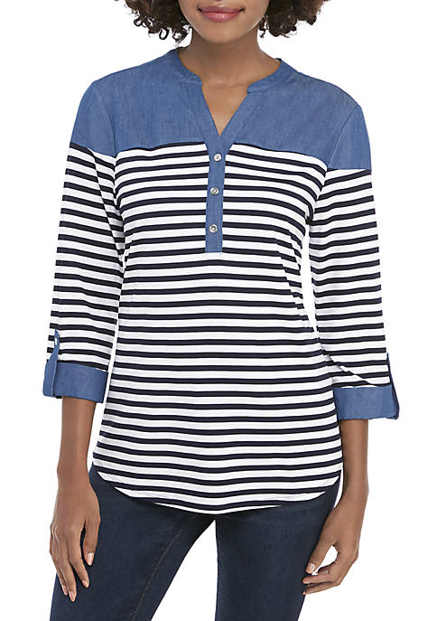 New Directions® 3/4 Sleeve Stripe Henley Top with