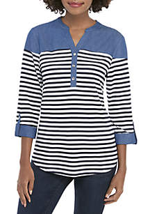 New Directions® 3/4 Sleeve Stripe Henley Top with Chambray Yoke