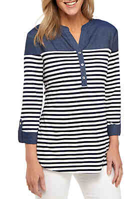 c5da46188 New Directions® 3/4 Roll Tab Sleeve Henley Stripe Top with Chambray Yoke ...