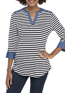 New Directions® 3/4 Sleeve Stripe Top with Chambray Trim