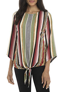3/4 Bell Sleeve Tie Front Stripe Top