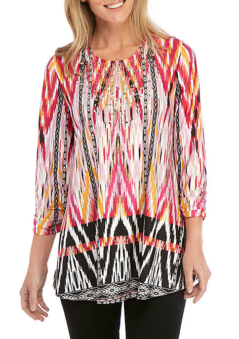 New Directions® 3/4 Sleeve Printed Swing Top with