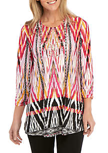 New Directions® 3/4 Sleeve Printed Swing Top with Embellishments