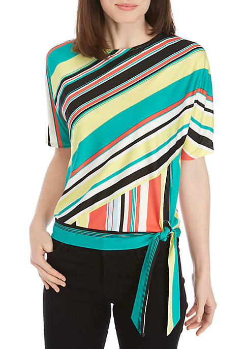3/4 Striped Side Tie Top