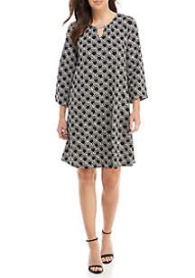 New Directions® 3/4 Sleeve Keyhole Neck Dress