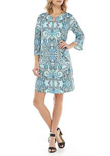 3/4 Sleeve with Hardware Neck Dress
