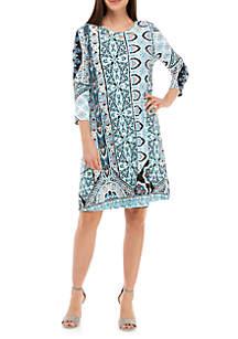 Grommet Neck Tunic Dress