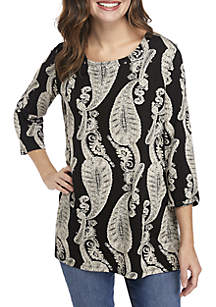 New Directions® Paisley Print Tunic with Stud Details
