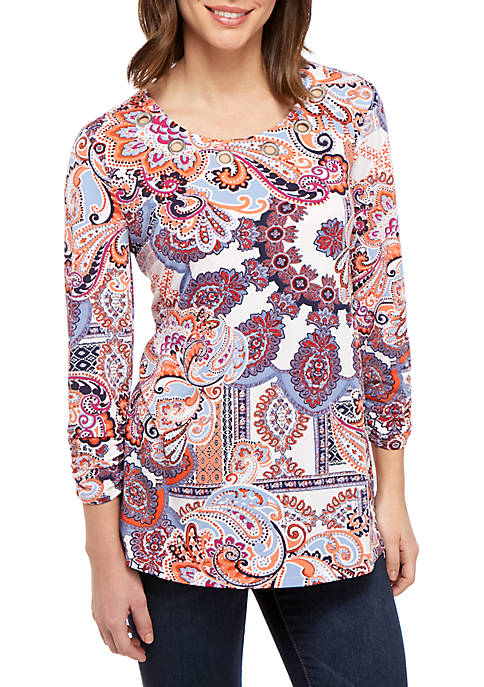 3/4 Cinched Sleeve Paisley Print Medallion Swing Top