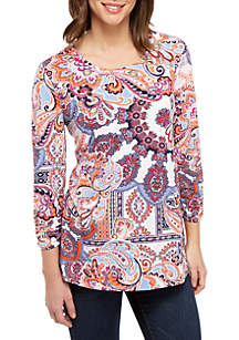 New Directions® 3/4 Cinched Sleeve Paisley Print Medallion Swing Top