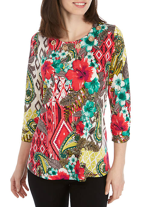 New Directions® 3/4 Ruched Sleeve Floral Tribal Print
