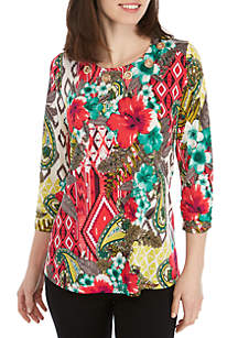 New Directions® 3/4 Ruched Sleeve Floral Tribal Print Swing Top