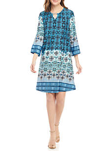 3/4 Sleeve Hardware Neck Print Dress