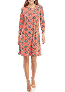 3/4 Sleeve Dress with Grommet Neck