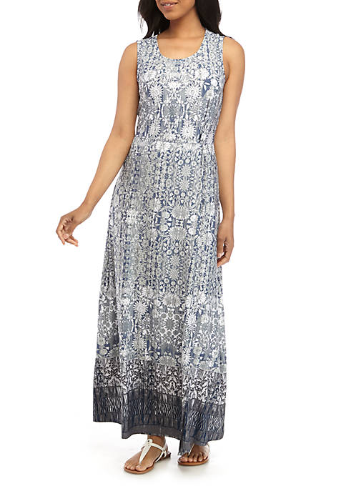 New Directions® Sleeveless Knit Front Printed Maxi Dress