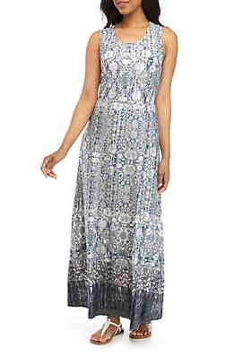 6e60bca51e24 New Directions® Sleeveless Knit Front Printed Maxi Dress ...