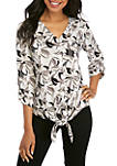 3/4 Sleeve Jacquard Palm Print Tie Front Top