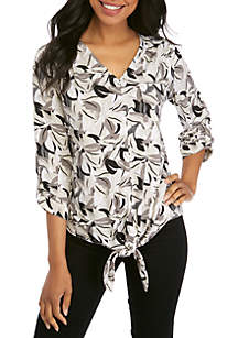 New Directions® 3/4 Sleeve Jacquard Palm Print Tie Front Top